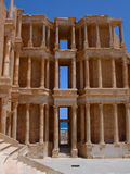 Ruins of Sabratha, Libya - Amphitheatre. The spectacular building of the roman amphitheatre in Sabratha, an ancient roman city, in Libya, North Africa, in front Stock Image