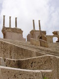 Ruins of Sabratha, Libya - Amphitheatre. The spectacular steps and column of the roman amphitheatre in Sabratha, an ancient roman city, in Libya, North Africa Stock Photo
