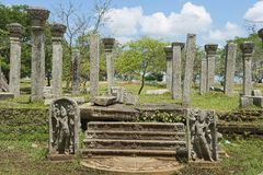 Ruins of the Sacred city in Anuradhapura, Sri Lanka. Stock Photos