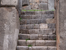 Ruins of Sacsayhuaman near Cusco, Peru. Close up of stone staircase at the Incan ruins of Sacsayhuaman near Cusco, Peru Stock Photo