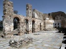 Ruins of Saint Achilleios church. The ruins of byzantinum Saint Achilleios church in the island of small Prespa lake stock image
