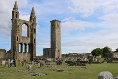 Ruins of Saint Andrews Cathedral in Scotland royalty free stock photo