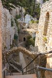 Ruins of Saint Hilarion Castle on a mountain, Cyprus. Ruins of Saint Hilarion Castle on a mountain, Kyrenia, Girne district, Cyprus royalty free stock images