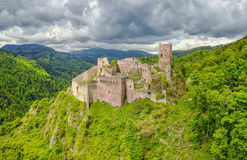 Ruins of Saint-Ulrich Castle in Ribeauville, France Royalty Free Stock Image