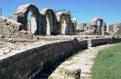 Ruins of Salona -Roman ancient city. The remains of Roman amphitheater   in Salona. Salona was Capital of Roman`s province,Dalmatia Royalty Free Stock Photo