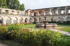 Ruins of Santa Clara convent at Antigua. On Guatemala royalty free stock photography