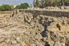 Ruins of Saranta Colones Castle in Paphos, Cyprus. Royalty Free Stock Photos