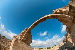 Ruins of Saranta Kolones castle. Paphos, Cyprus Royalty Free Stock Photos