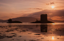 Ruins Scottish Castle Stalker at sunset Royalty Free Stock Image