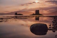 Ruins Scottish Castle Stalker at sunset Royalty Free Stock Images
