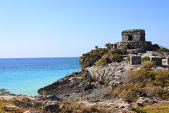 Ruins and sea. As part of the archaeological site of tulum in quintana roo, mexico stock photos