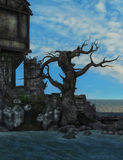 Ruins by the sea fantasy background Royalty Free Stock Photo