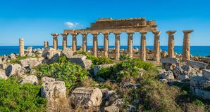Ruins in Selinunte, archaeological site and ancient greek town in Sicily, Italy. stock photos