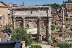 Ruins of Septimius Severus Arch and Roman Forum in city of Rome, Italy. ROME, ITALY - JUNE 23, 2017: Ruins of Septimius Severus Arch and Roman Forum in city of Royalty Free Stock Photos