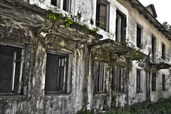 Ruins of shabby building covered by vegetation Stock Photo