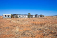 Ruins of shearing shed in the Australian outback. Royalty Free Stock Photo