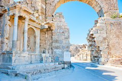 Ruins of Side in  Turkey, arch of white stone Stock Photo