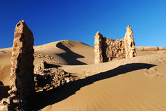 Ruins on the Silk Road. The HeiCheng(Black-City),it's ruins on th silk road Royalty Free Stock Photo