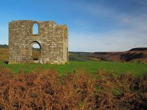 Ruins of Skelton Tower on the moors. Ruins of Skelton Tower near Levisham on a bright, sunny autumn day with views over North York Moors National Park, Yorkshire Royalty Free Stock Photography