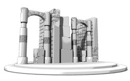 Ruins Sketch. Sketch rendering of ruins. Detailed architectural artwork. Created on a 3D software based on accurate data, measurement and scale Royalty Free Stock Photos