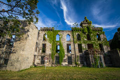 Ruins of the Smallpox Hospital, on Roosevelt Island, in Manhatta Stock Images