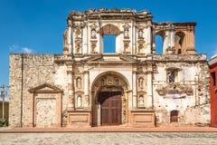 View at the ruins of Society of Jesus church in Antigua Guatemala. Ruins of Society of Jesus church in Antigua Guatemala royalty free stock photography