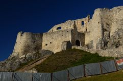 Spis Castle Spišský hrad Exterior view 5. The ruins of Spiš Castle in eastern Slovakia form one of the largest castle sites in Central Europe. The royalty free stock photo