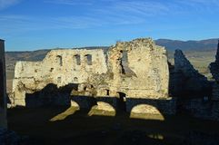 Spis Castle Spišský hrad inner walls view 2. The ruins of Spiš Castle in eastern Slovakia form one of the largest castle sites in Central Europe. The stock image