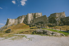 The ruins of Spis castle, Slovakia. Spis castle, Slovakia - one of the largest castle sites in Central Europe was included in the UNESCO list of World Heritage stock image