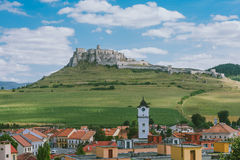 The ruins of Spis castle, Slovakia. Spis castle, Slovakia - one of the largest castle sites in Central Europe was included in the UNESCO list of World Heritage stock photography