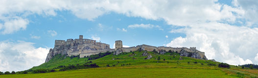 The ruins of Spis Castle (or (Spissky hrad). Slovakia. The ruins of Spis Castle or Spissky hrad in eastern Slovakia. Summer panorama. Built in the 12th century royalty free stock photo