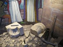 Ruins in the St andrews cathedral museum. Remains in the museum in Scotland royalty free stock photos
