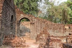 Ruins of St. Augustine complex. Old Goa, India. stock photography