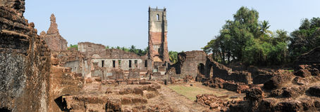 Ruins of St. Augustine convent complex at Old Goa. On India Royalty Free Stock Images