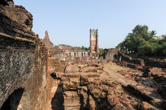 Ruins of St. Augustine convent complex at Old Goa Royalty Free Stock Photography