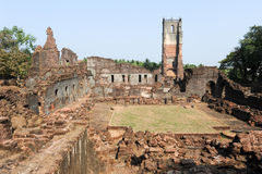Ruins of St. Augustine convent complex at Old Goa Stock Photo
