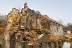 The ruins of St. Hakop church at Sanahin Monastery in winter, Armenia royalty free stock photography