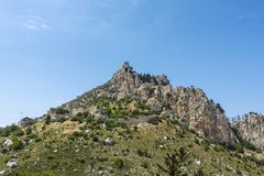 Ruins of St Hilarion castle on top of the mountain, Kyrenia district, Northern Cyprus. Ruins of Saint Hilarion castle on top of the mountain, Kyrenia district stock image