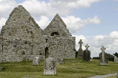 Ruins of St. Kieran's Cathedral. The ruins of St. Kieran's cathedral at Clonmacnoise in situated in County Offaly, Ireland on the River Shannon. The original Stock Photos