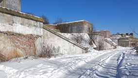 Ruins of the 1st North Fort on a sunny march day. Kronstadt, Russia. Ruins of the 1st North Fort on a sunny march day. Kronstadt. Russia stock footage