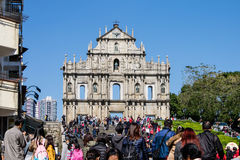 Ruins of St Paul church in Macau Royalty Free Stock Photos