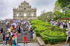 Ruins of St. Paul`s in Macau, lot of tourists royalty free stock photo