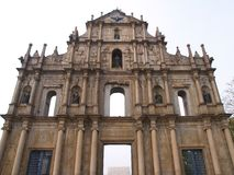 Ruins of St. Paul, Macau. The view of the facade of Ruins of St. Paul's Church in Macau Royalty Free Stock Photos