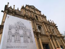 Ruins of St. Paul, Macau. The view of the facade of Ruins of St. Paul's Church in Macau Royalty Free Stock Image