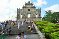 Ruins of St.Paul, Macau. Ruins of St.Paul is one of the most famous tourist attractions in Macau, China. It was originally St. Pauls College and the Cathedral of Stock Images