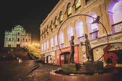 Ruins of St. Paul in the night Stock Photography