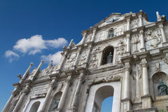 The Ruins of St. Paul's. In Macau with a bright blue sky background Stock Images