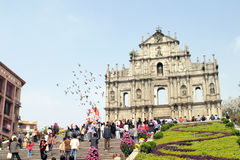The Ruins of St. Paul's. (also known as Sam Ba Sing Tzik) stands adjacent to the famous Mount Fortress and Macau Museum. The front façade and the grand stone stock images