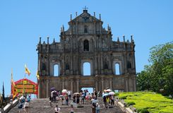 The Ruins of St. Paul's. Refers to the ruins of a 16th century complex in Macau including of what was originally St. Paul's College and the Cathedral of St Royalty Free Stock Image
