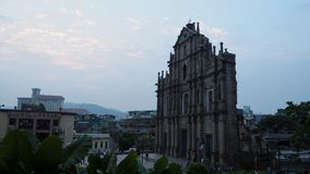 The ruins of St. Paul`s that The Historic Center of Macau royalty free stock image